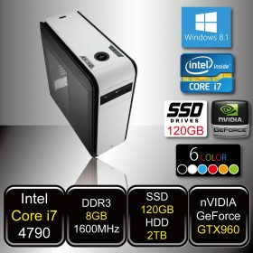 GAMING PC - SkyCruiser i7 (Core i7 / 8GB DDR3 / SSD120GB / HDD 2TB / GTX960 / DVD / Win8.1)