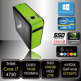 GAMING PC - SkyCruiser i7 S (Core i7 / 16GB DDR3 / SSD256GB / HDD 2TB / GTX970 / DVD / Win8.1)