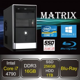 DESKTOP PC - MATRIX-i7S (Core i7 / 16GB DDR3 / SSD 256GB + HDD 1TB / Blu-ray / Win8.1)