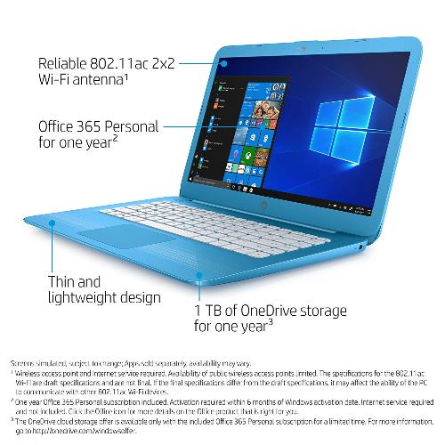 HP Stream 14-inch Laptop, Intel Celeron N3060 Processor, 4 GB SDRAM Memory, 32 GB eMMC Storage, Windows 10 Home in S Mode with Office 365 Personal for one Year (14-cb010nr, Aqua Blue)