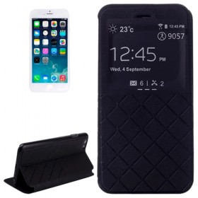 Plaid Texture Horizontal Flip Leather Case with Call Display ID & Holder for iPhone 6S / 6 (Black)