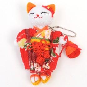 CHIRIMEN MANEKINEKO Series, Key Chain - 60L-04 KIMONO NEKO A -