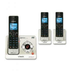 VTech LS6425-3 DECT 6.0 Cordless Phone, Black/Silver, 3 Handsets